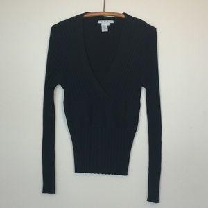 CAbi #337 Cassidy V-Neck Ribbed Sweater Black M